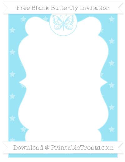 Free Pastel Aqua Blue Star Pattern Blank Butterfly Invitation