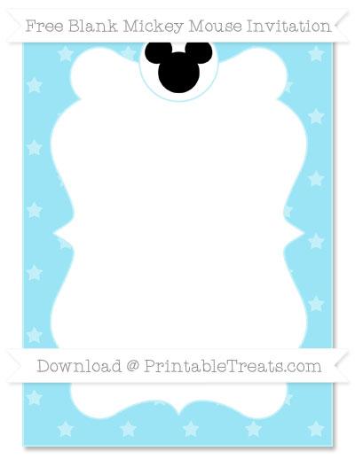 Free Pastel Aqua Blue Star Pattern Blank Mickey Mouse Invitation