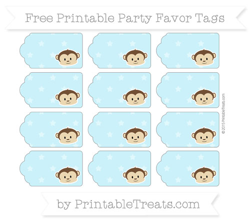 Free Pastel Aqua Blue Star Pattern Boy Monkey Party Favor Tags