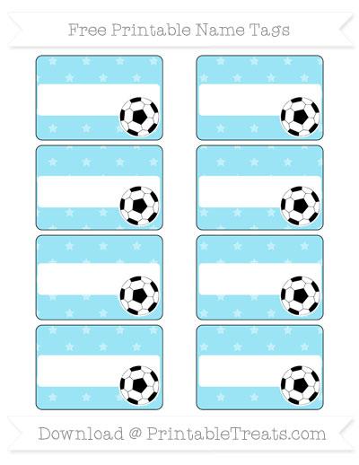 Free Pastel Aqua Blue Star Pattern Soccer Name Tags