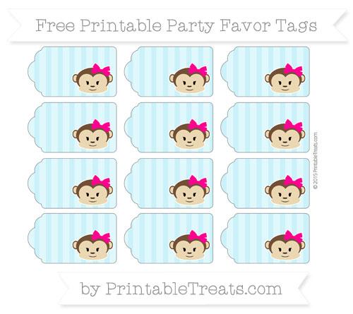 Free Pastel Aqua Blue Striped Girl Monkey Party Favor Tags