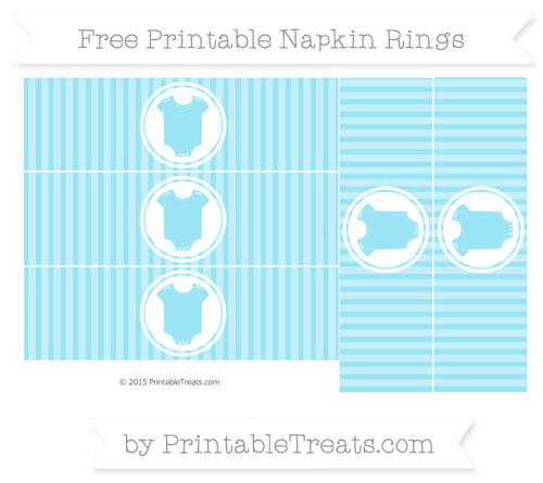 Free Pastel Aqua Blue Thin Striped Pattern Baby Onesie Napkin Rings