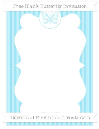 Free Pastel Aqua Blue Thin Striped Pattern Blank Butterfly Invitation