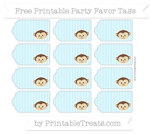 Free Pastel Aqua Blue Thin Striped Pattern Boy Monkey Party Favor Tags
