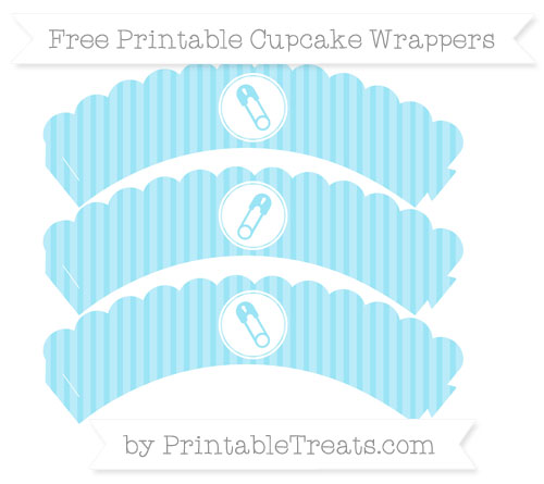 Free Pastel Aqua Blue Thin Striped Pattern Diaper Pin Scalloped Cupcake Wrappers