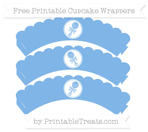 Free Pastel Blue Baby Rattle Scalloped Cupcake Wrappers