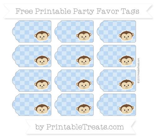 Free Pastel Blue Checker Pattern Boy Monkey Party Favor Tags