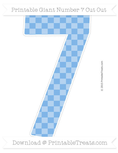 Free Pastel Blue Checker Pattern Giant Number 7 Cut Out
