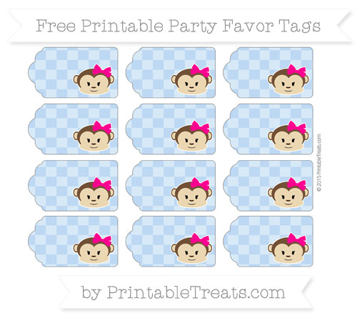 Free Pastel Blue Checker Pattern Girl Monkey Party Favor Tags