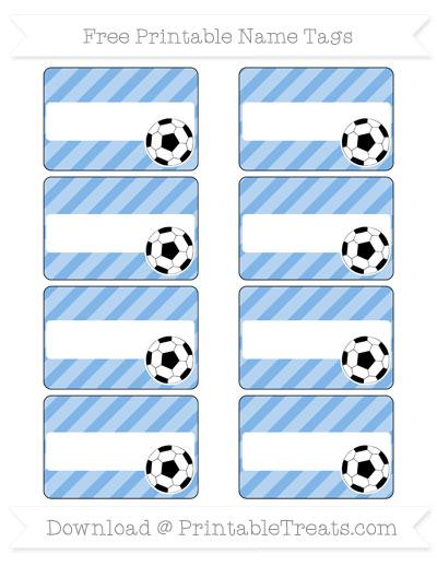 Free Pastel Blue Diagonal Striped Soccer Name Tags