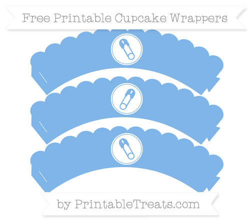 Free Pastel Blue Diaper Pin Scalloped Cupcake Wrappers
