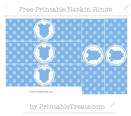 Free Pastel Blue Dotted Pattern Baby Onesie Napkin Rings