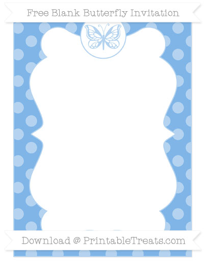 Free Pastel Blue Dotted Pattern Blank Butterfly Invitation