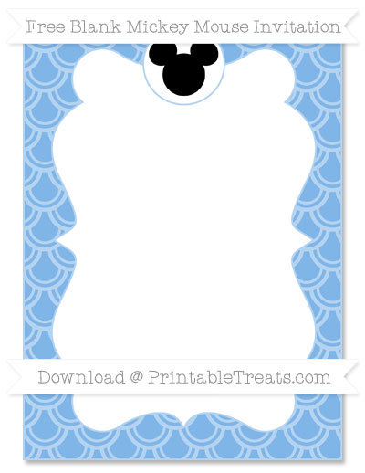 Free Pastel Blue Fish Scale Pattern Blank Mickey Mouse Invitation