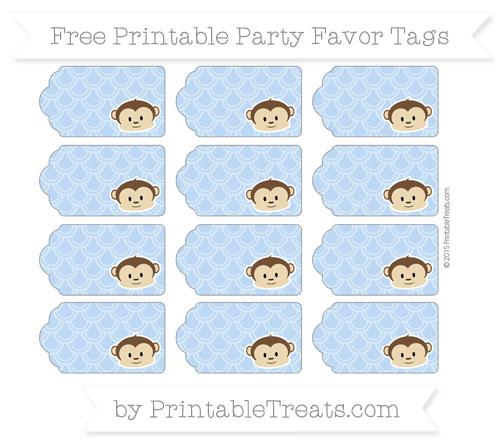 Free Pastel Blue Fish Scale Pattern Boy Monkey Party Favor Tags