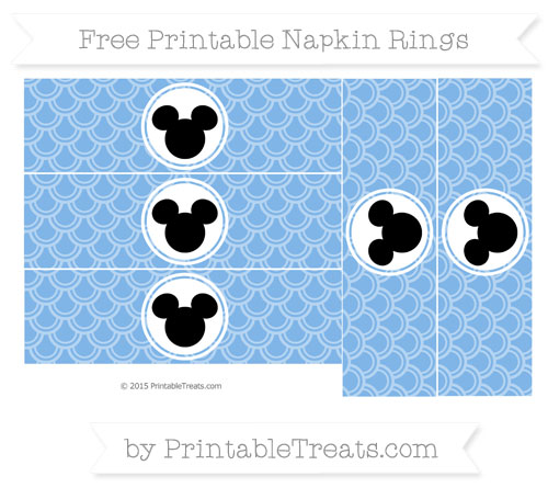 Free Pastel Blue Fish Scale Pattern Mickey Mouse Napkin Rings