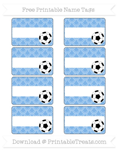 Free Pastel Blue Fish Scale Pattern Soccer Name Tags
