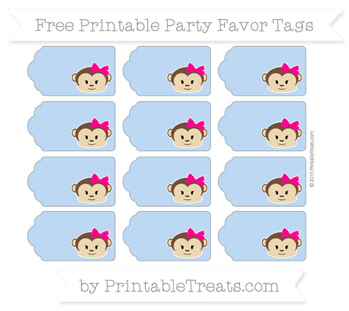 Free Pastel Blue Girl Monkey Party Favor Tags