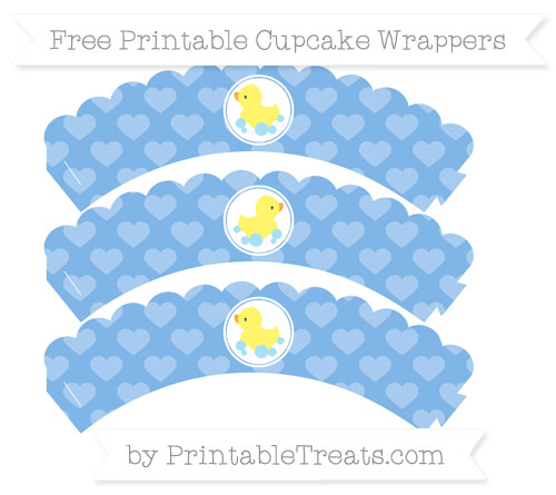 Free Pastel Blue Heart Pattern Baby Duck Scalloped Cupcake Wrappers