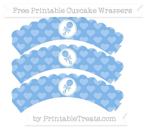 Free Pastel Blue Heart Pattern Baby Rattle Scalloped Cupcake Wrappers