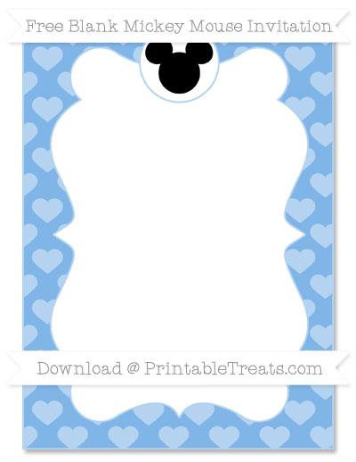 Free Pastel Blue Heart Pattern Blank Mickey Mouse Invitation