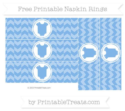 Free Pastel Blue Herringbone Pattern Baby Onesie Napkin Rings