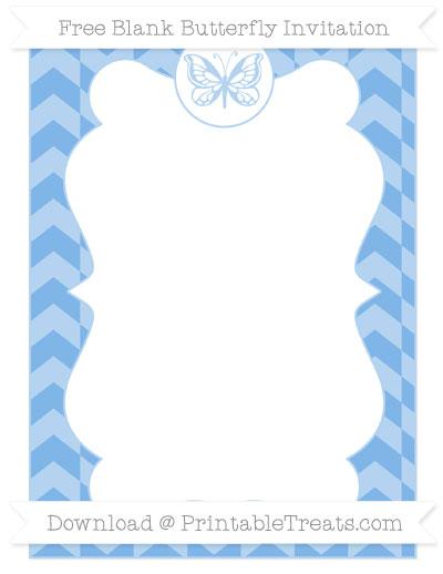 Free Pastel Blue Herringbone Pattern Blank Butterfly Invitation