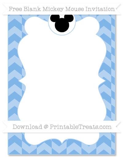 Free Pastel Blue Herringbone Pattern Blank Mickey Mouse Invitation