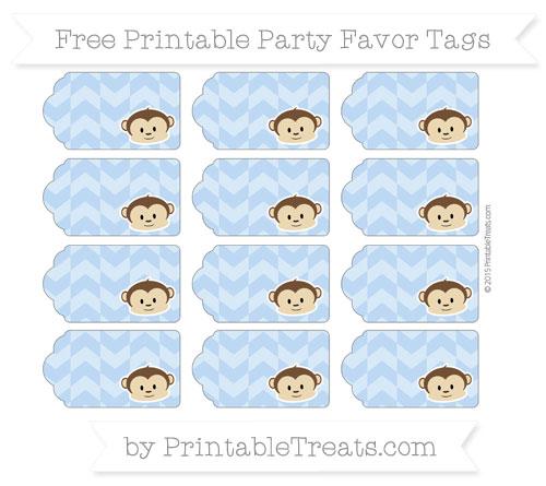 Free Pastel Blue Herringbone Pattern Boy Monkey Party Favor Tags