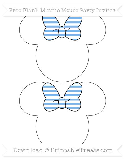 Free Pastel Blue Horizontal Striped Blank Minnie Mouse Party Invites