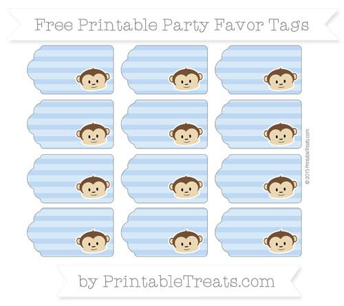 Free Pastel Blue Horizontal Striped Boy Monkey Party Favor Tags