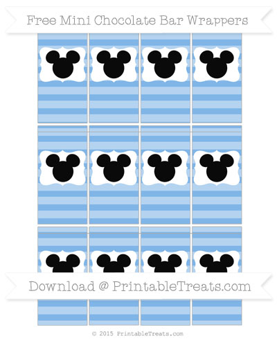 Free Pastel Blue Horizontal Striped Mickey Mouse Mini Chocolate Bar Wrappers