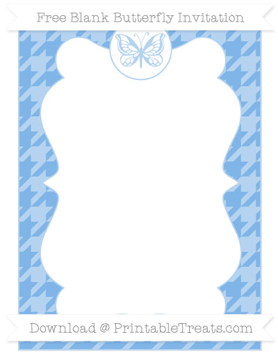 Free Pastel Blue Houndstooth Pattern Blank Butterfly Invitation