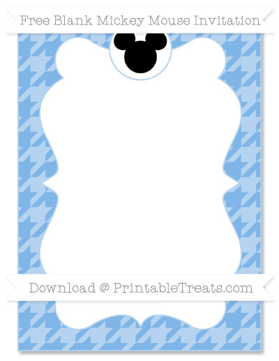 Free Pastel Blue Houndstooth Pattern Blank Mickey Mouse Invitation