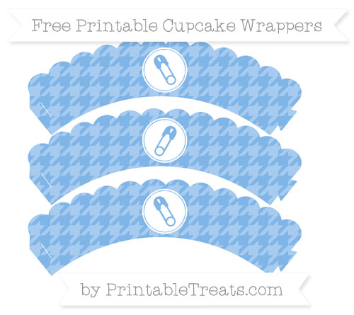 Free Pastel Blue Houndstooth Pattern Diaper Pin Scalloped Cupcake Wrappers