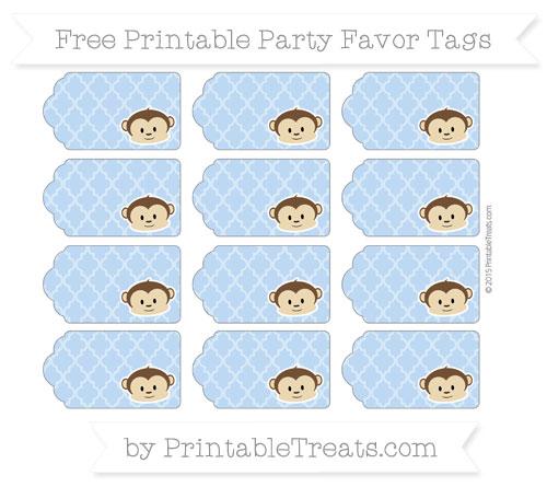Free Pastel Blue Moroccan Tile Boy Monkey Party Favor Tags