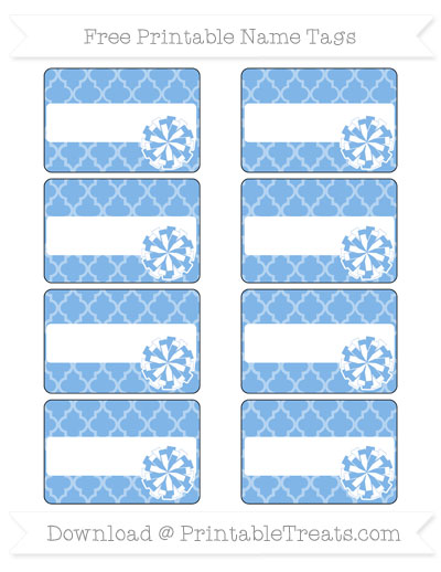Free Pastel Blue Moroccan Tile Cheer Pom Pom Tags