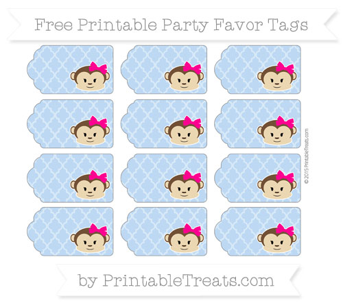 Free Pastel Blue Moroccan Tile Girl Monkey Party Favor Tags