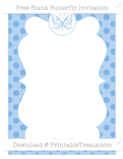 Free Pastel Blue Polka Dot Blank Butterfly Invitation