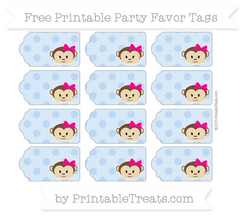 Free Pastel Blue Polka Dot Girl Monkey Party Favor Tags