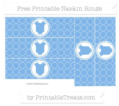 Free Pastel Blue Quatrefoil Pattern Baby Onesie Napkin Rings