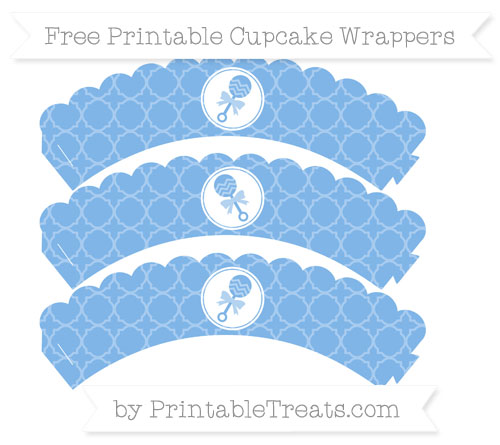 Free Pastel Blue Quatrefoil Pattern Baby Rattle Scalloped Cupcake Wrappers