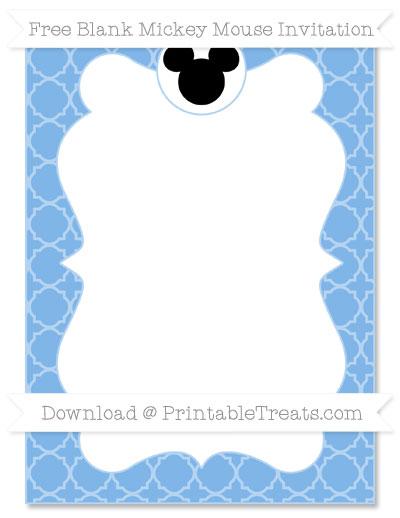Free Pastel Blue Quatrefoil Pattern Blank Mickey Mouse Invitation