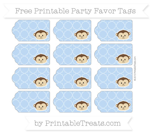 Free Pastel Blue Quatrefoil Pattern Boy Monkey Party Favor Tags