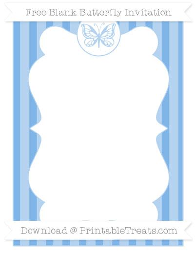 Free Pastel Blue Striped Blank Butterfly Invitation