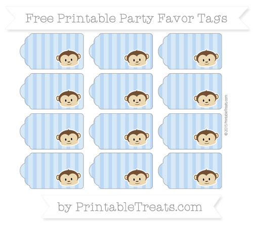 Free Pastel Blue Striped Boy Monkey Party Favor Tags