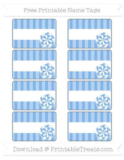 Free Pastel Blue Striped Cheer Pom Pom Tags