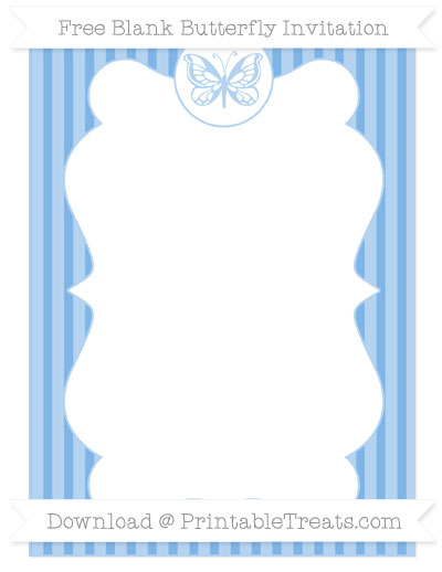 Free Pastel Blue Thin Striped Pattern Blank Butterfly Invitation