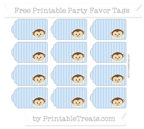 Free Pastel Blue Thin Striped Pattern Boy Monkey Party Favor Tags