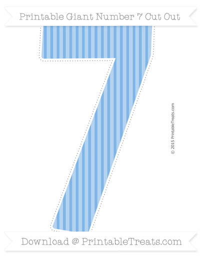 Free Pastel Blue Thin Striped Pattern Giant Number 7 Cut Out